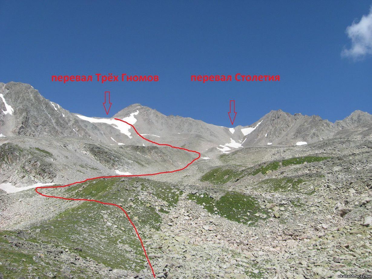 Подъём на перевал Трёх гномов